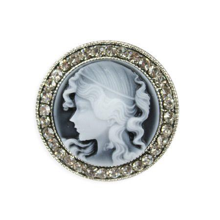 Victorian Cameo Brooch - Gray $13.95