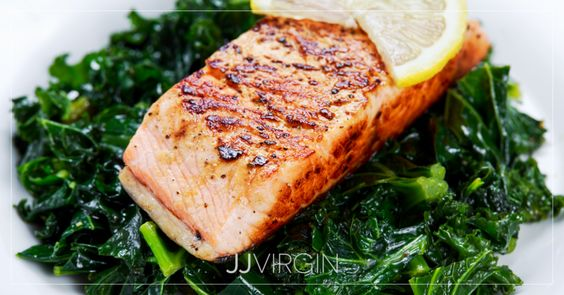 Grilled Wild Salmon with Onion Marmalade over Greens
