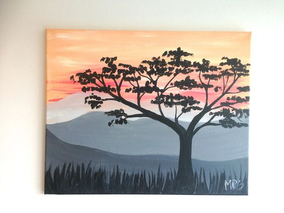 """Desert Tree At Sunset Painting. As an artist I have many jobs, one of which is teaching painting classes. This painting was inspired by the art from one of my classes. The painting is done in acrylic paint on 16"""" x 20"""" canvas and is ready to hang right on your wall or be given as a gift. This painting shows a desert sunset with a tree in the foreground, the bright oranges in the sunset are happy, it is perfect for any nature lover. It makes a wonderful piece for any room in your house…"""