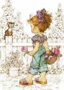sarah kay, girl, garden, cat, tulip