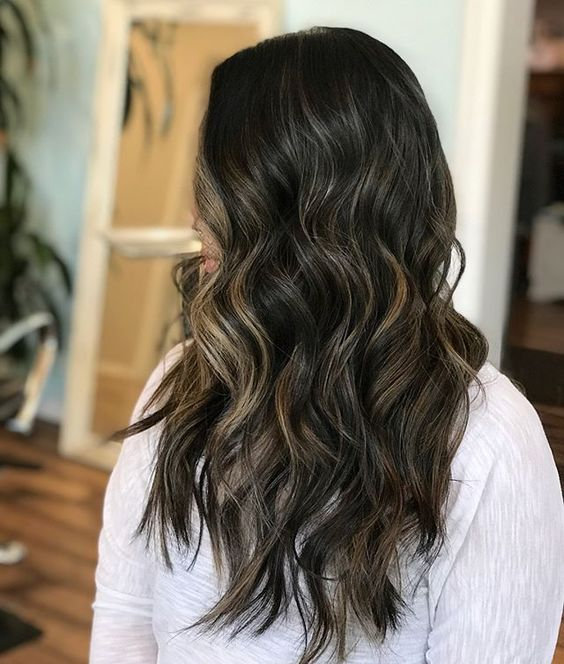Balayage Brunette Highlights Hairpainting Hair Jeslinsalonandboutique Point Black Hair With Highlights Black Hair With Brown Highlights Partial Balayage