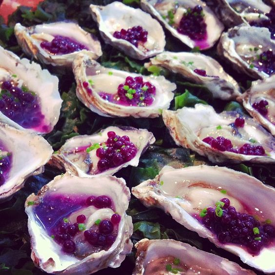 Fairmont Pacific Rim's Sawmill Bay Oysters w/ Blueberry Yuzu Pearls and Cucumber Mignonette