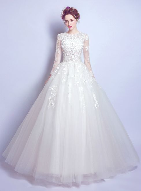 In Stock Ship In 48 Hours Ball Gown Long Sleeve White Tulle Wedding Dress With Images Long Sleeve Wedding Dress Lace Wedding Dresses Lace Ballgown Ball Gown Wedding Dress