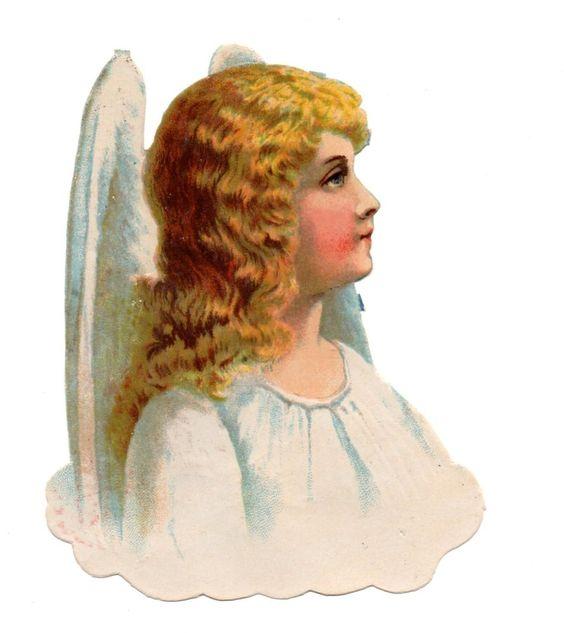 Alte Oblate Glanzbilder Scraps weißer Engel ... 16cm: