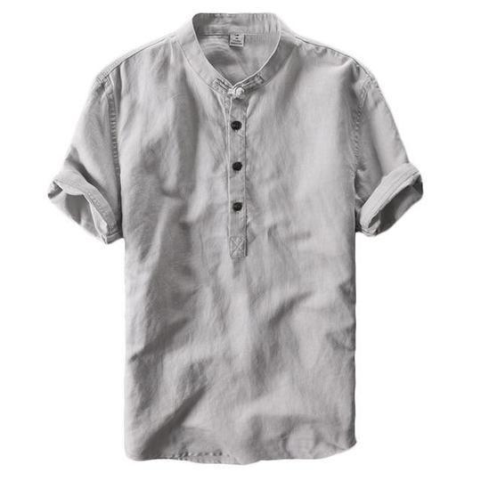 Men/'s Retro Cotton Linen Button Tops Tee Short Sleeve Casual Shirts Summer Tops