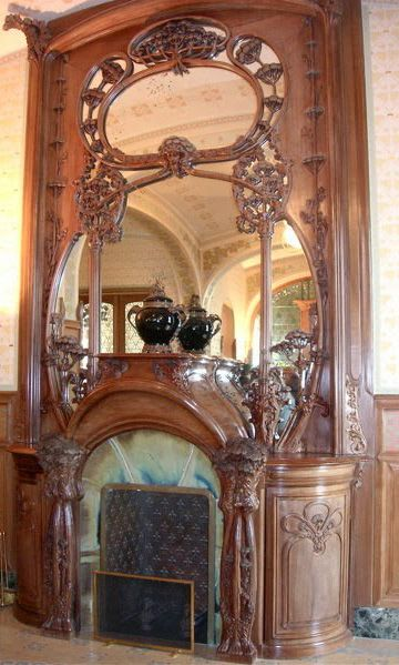art nouveau villa demoiselle reims int rieurs chemin e boiseries paul alexandre. Black Bedroom Furniture Sets. Home Design Ideas