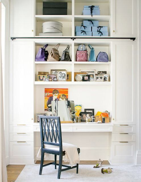 Love the idea of a built in desk!  Perhaps the husband will give up his closet so my wish can come true!