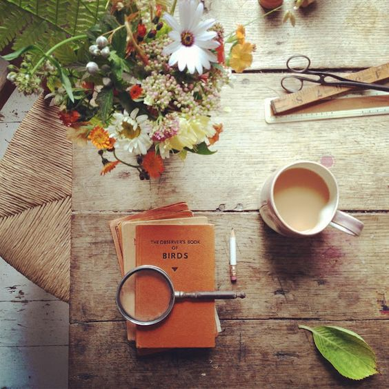 books, flowers and tes