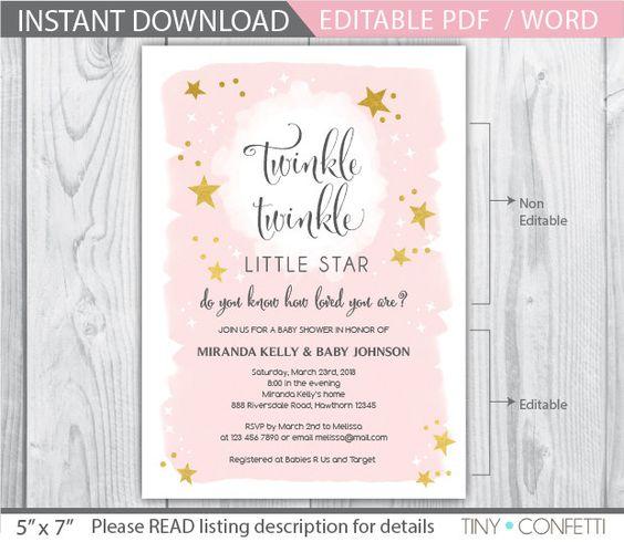 twinkle twinkle little star baby shower invitation / twinkle twinkle little star / twinkle twinkle invitation / twinkle star invitation
