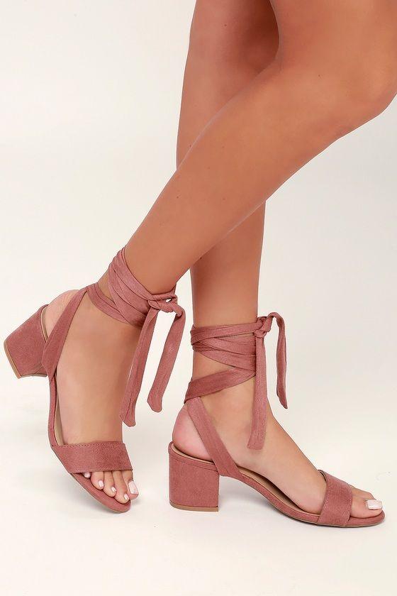 Trinidad Dusty Rose Suede Lace-Up Heels