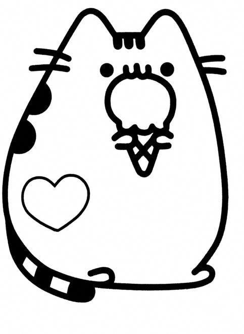 Pusheen Ice Cream Cat Laptopsdibujo Pusheen Coloring Pages