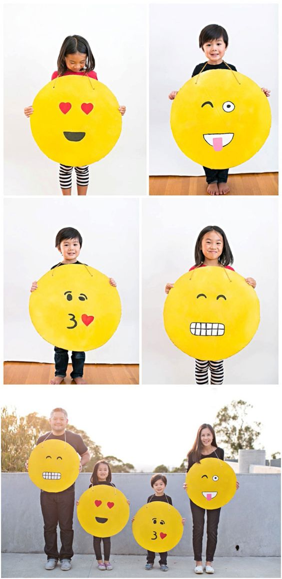 Easy DIY Cardboard Emoji costumes. These make fun and easy kid or family Halloween costumes. See all four versions we made!