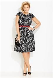 "Plus Size Cap Sleeve ""Fit & Flare"" Dress image"