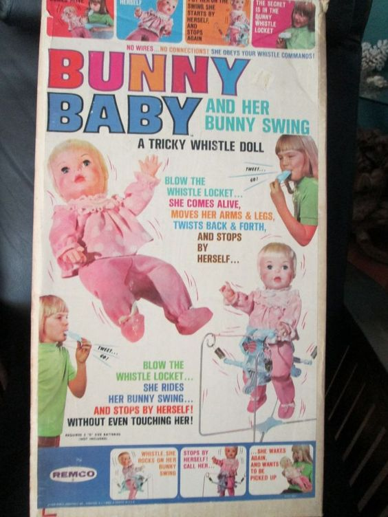 New Rare Unopened Vintage Remco Bunny Baby Doll W/ Rabbit Whistle & Swing 1960s #Remco