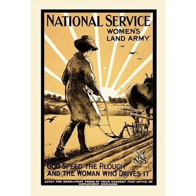 Buyenlarge 'National Service Womens Land Army' by Henry George Gawthorn Vintage Advertisement