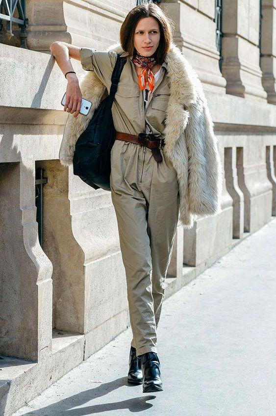Street style de como usar macacão no inverno #streetstyleromper