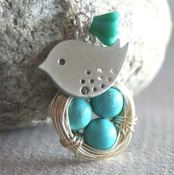 bird nest and spotted baby bird necklace