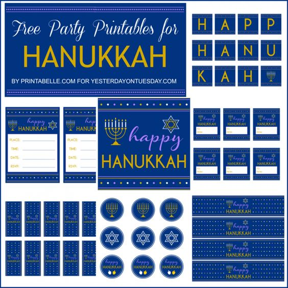 You can download these Hanukkah Party Printables for free thanks to @Malia Littlefield Martine Karlinsky