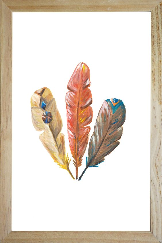 three feathers illustration in frame catchii design painting wall art