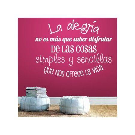 Vinilos decorativos de texto con la frase la alegr a no - Vinilos con textos ...