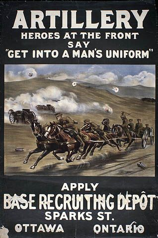 """Artillery Heroes at the Front Say """"Get into a Man's Uniform"""" : recruitment campaign."""
