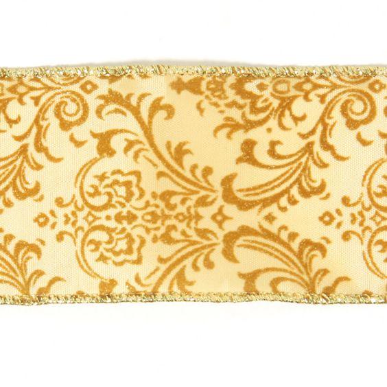 Fita decorativa com Ornamentos 1 (60) - Poliéster - Metal - dourado by tecidos.com.pt