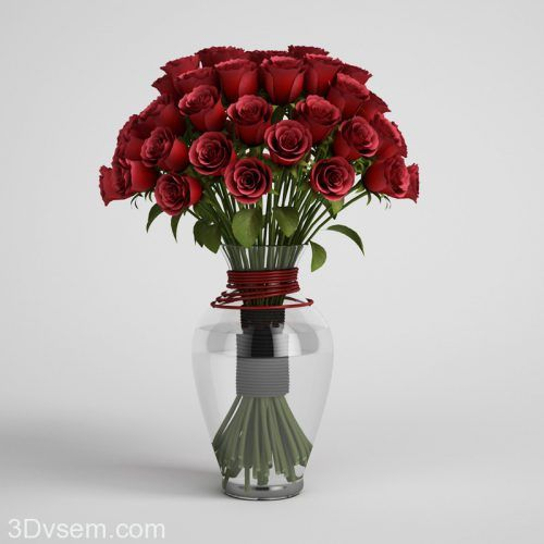 Red Roses In Glass Vase 3d Model Rose Vase Vase Glass Vase