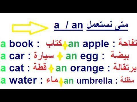 تعلم اللغة الإنجليزية بسهولة أجمل وأسهل طريقة لتتعلم الفرق بين A و An ومتى نستعملها Youtube Learn English Words English Words English Phrases