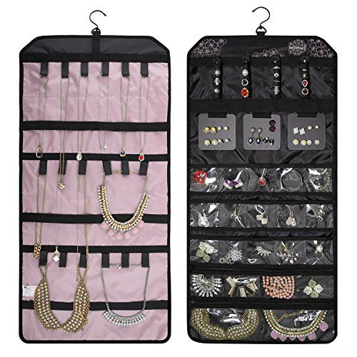 Jewellery Hanging Sided Storage Bag Double Jewelry Holder Organizer Chic