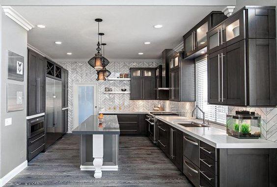 Superior Grey Hardwood Floors Ideas Modern Kitchen Interior Design Dark Grey Kitchen  Cabinets White Countertops | Dream Kitchen | Pinterest | Grey Hardwood  Floors, ...