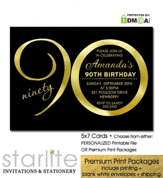 Black + Gold Birthday Invitation, 90th Birthday Invitation, Modern Number in simulated Gold Foil - available in Choice of either Personalized Printable Invitation or Premium Printed Packages  https://starliteprintables.indiemade.com/product/black-gold-birthday-invitation-90th-birthday-invitation-modern-number