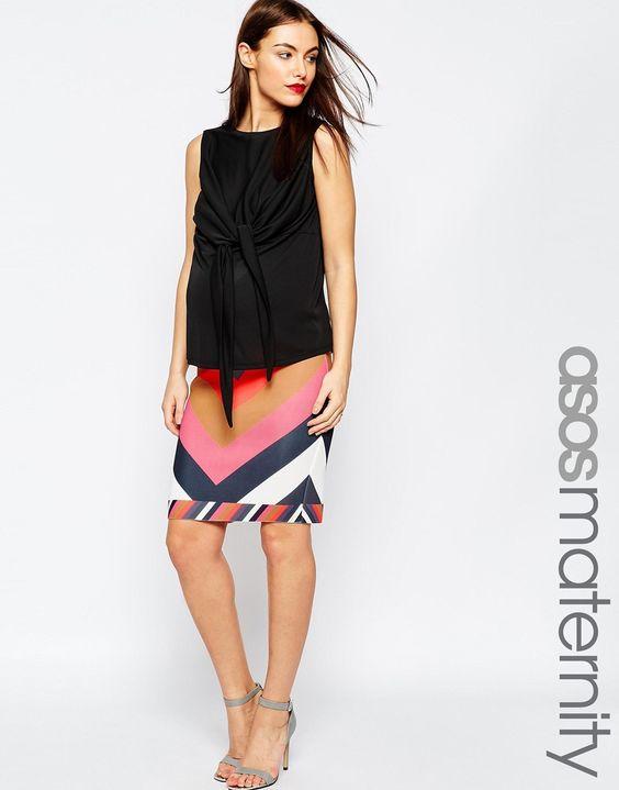 ASOS+Maternity+Chevron+Scuba+Pencil+Skirt+With+Contrast+Hem
