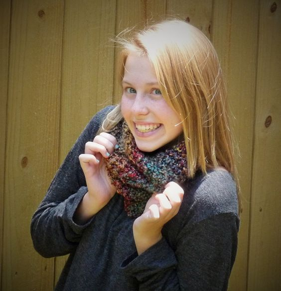 Teen Fall Color Scarf, Blue and Brown Cowl Style Scarf, Super Soft Scarf, Free Shipping by lovemyknits on Etsy