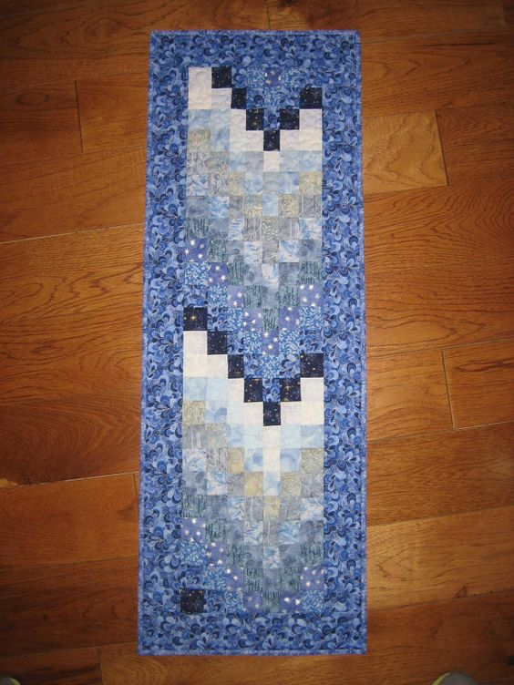 Ice Blue Winter Fabric Art Quilt Wall Hanging by TahoeQuilts