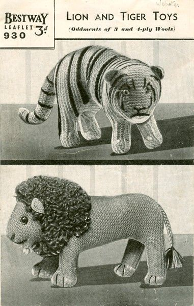 Free Knitting Patterns For Christmas Decorations : PDF Knitting Pattern for 1930s Tiger and Lion Soft Toys - Instant Download ...