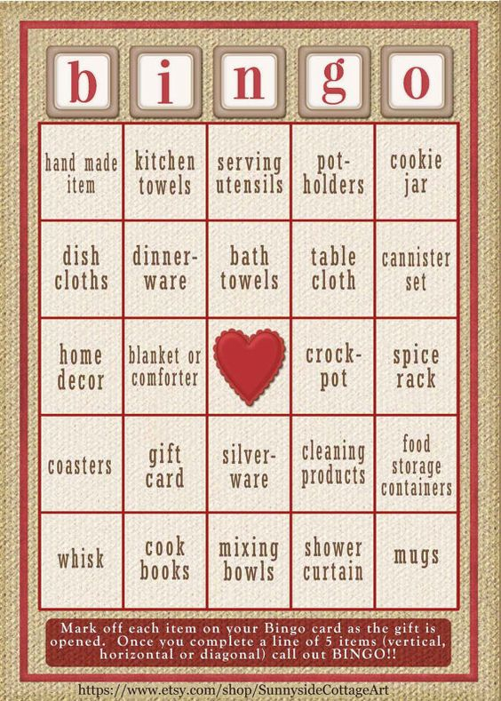 30 card Bridal Shower Bingo game in rustic by SunnysideCottageArt