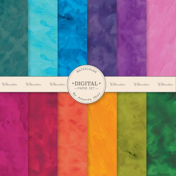 Premium Bold Bright Solid Watercolor Digital Papers by AmandaIlkov