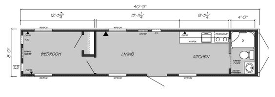 One Bedroom One Bath Shipping Container Home Floor Plan Shipping Container 40 Long Simpl Shipping Container House Plans Container House Container House Plans