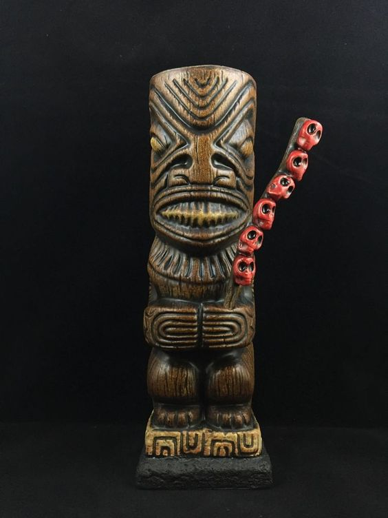 "Beachbumz Custom Ka'oha Marquesan Tiki Mug ""Skull Collector"" - Made on Maui"