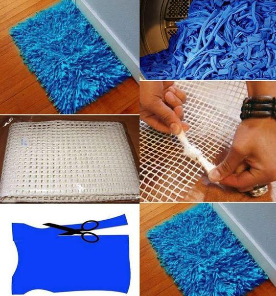 Homemade Bath Rug - DIY Tshirt yarn craft //alldaychic.com: