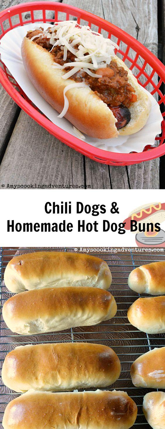 Homemade Hot Dog Buns & Chili Dogs #HotDogDay