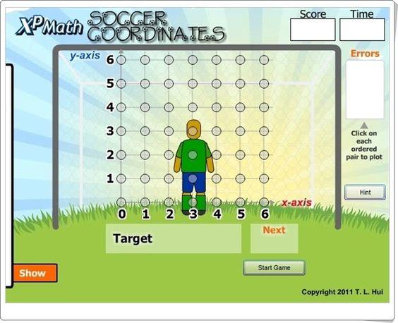 """""""Coordenadas de fútbol"""" es un juego en el que hay que indicar, en el sistema de coordenadas, el punto que se pide para poder así marcar el máximo de goles en un tiempo limitado."""