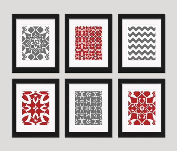 Red And Grey Art Prints Modern Art Print Set Home Decor Set Of 6 8x10 Pr