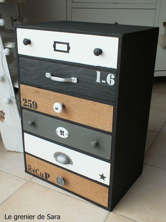 meuble tiroirs broc et patine le grenier de sara id es d co pinterest. Black Bedroom Furniture Sets. Home Design Ideas