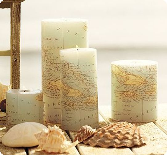 Turn Vacation Maps into a Decoupage Candle Holder