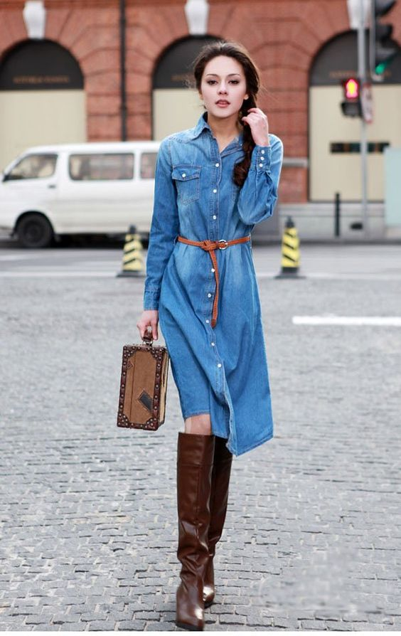 Free Shipping Women Casual Denim Dress-Nice Blue Jean Dress Ball ...