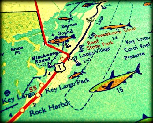 photograph vintage map KEY LARGO retro Florida Keys 11x14 color – Key Largo Tourist Attractions Map