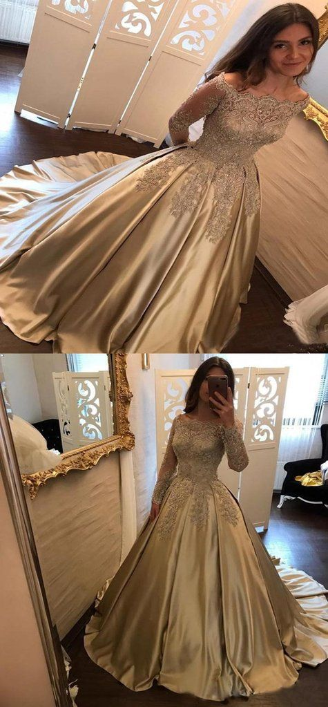 A Line Off Shoulder Long Sleeves Ball Gown Prom Dresses Online