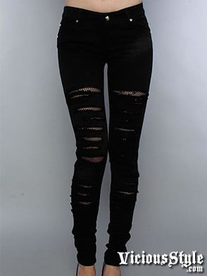 cheap ripped jeans for teens | Skinny Jeans with Fishnet Slashes ...