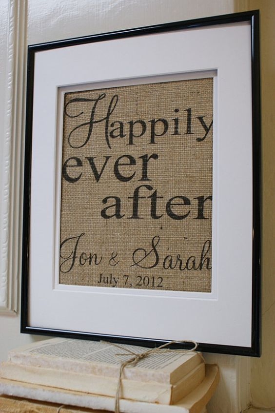 This would be an awesome, inexpensive gift for a wedding.     ORIGINALLa Poste Burlap Announcements by My by myadobecottage, $20.00